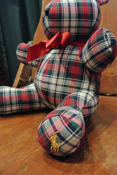 画像2: ラルフローレン タータンチェック ベアー 熊ぬいぐるみ(白、赤、グリーン)