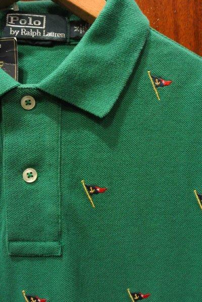 画像1: ポロラルフローレン フラッグモノグラム刺繍 鹿の子ポロシャツ(GREEN/M,L)