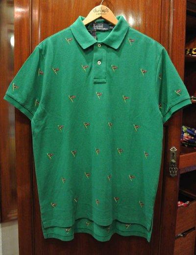 画像3: ポロラルフローレン フラッグモノグラム刺繍 鹿の子ポロシャツ(GREEN/M,L)