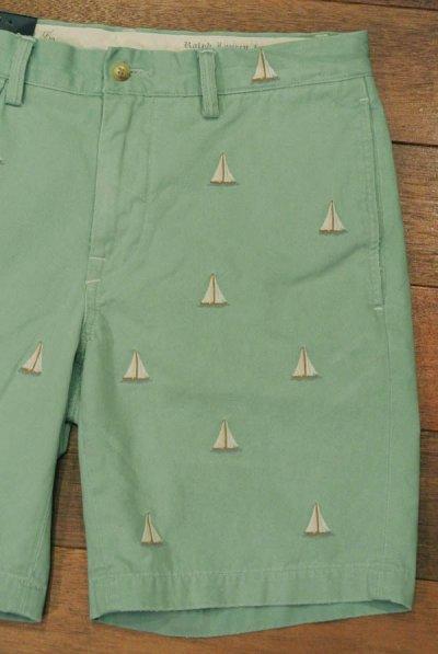 画像1: ポロラルフローレン ヨットモノグラム刺繍チノショーツ(ライトグリーン/W30,31)