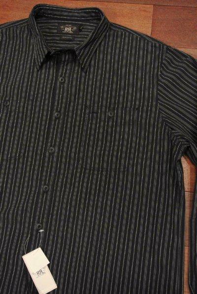 画像1: 【大きいサイズ:XL】RRLダブルアールエル ドビーストライプ ワークシャツ(XL)