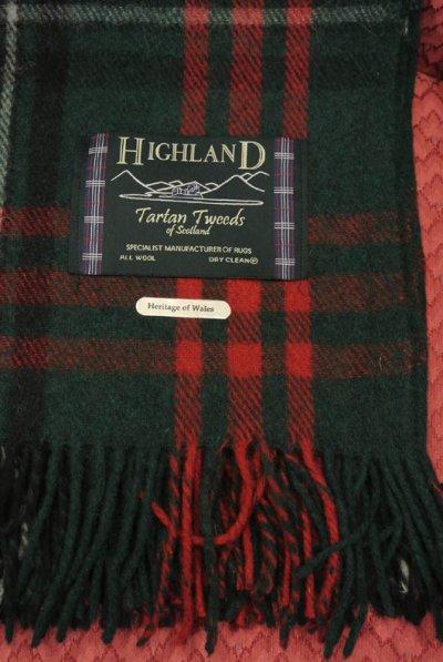 """画像3: 【40%OFF!!】 """"HIGHLAND""""スコットランド製ウールタータンブランケット(Heritage of wales/152*178cm)"""