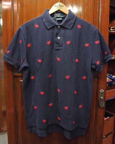 画像3: ポロラルフローレン ロブスターモノグラム刺繍 鹿の子ポロシャツ(NAVY/M)