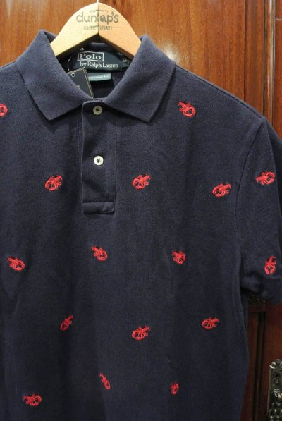 画像1: ポロラルフローレン ロブスターモノグラム刺繍 鹿の子ポロシャツ(NAVY/M)