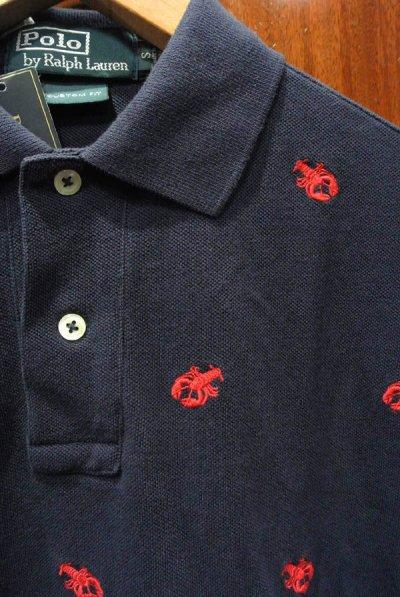 画像2: ポロラルフローレン ロブスターモノグラム刺繍 鹿の子ポロシャツ(NAVY/M)
