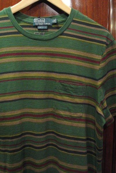 画像1: 【20%OFF!! 】【クリックポスト170円も可】 ポロラルフローレン マルチボーダー Tシャツ (Green/CUSTOM FIT L) 新品 並行輸入