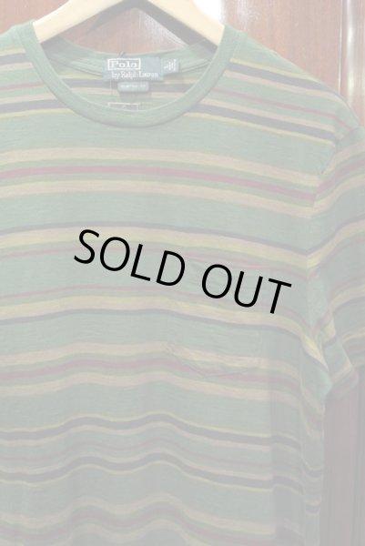 画像1: 【20%OFF!! 】【クリックポスト170円も可】 ポロラルフローレン マルチボーダー Tシャツ (Green/CUSTOM FIT L) 新品 並行輸入 (1)