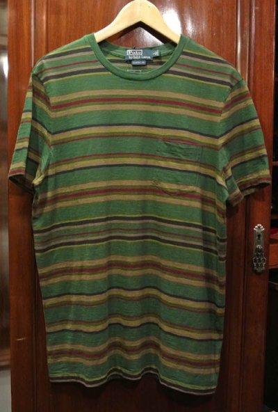 画像2: 【20%OFF!! 】【クリックポスト170円も可】 ポロラルフローレン マルチボーダー Tシャツ (Green/CUSTOM FIT L) 新品 並行輸入