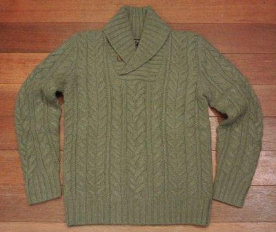 画像1: 【 50%OFF!! 】ポロラルフローレン ショールカラー ケーブル編みセーター (Green/S) 新品 並行輸入