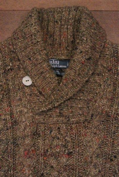画像3: 【 30%OFF!! 】 ポロラルフローレン ショールカラー ネップケーブル編みセーター (Brown/L) $350 新品 並行輸入