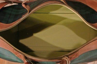 画像2: 【20%OFF!! 】【Used】ポロラルフローレン PVC×レザー ブラックウォッチ ボストンバッグ