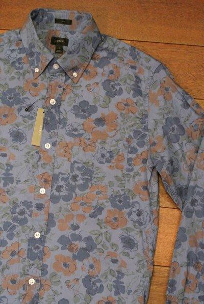 画像1: 【50%OFF!!】 【クリックポスト188円も可】 【SLIM FIT】 J.CREW フローラル 総柄 花柄 B.Dシャツ  【Blue 花柄,S】 新品 並行輸入