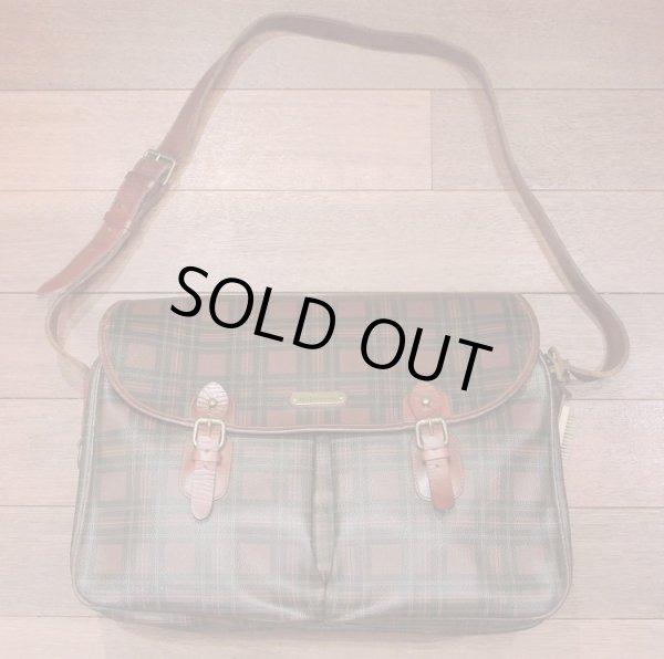 画像1: 【20%OFF!! 】【Used】ポロラルフローレン PVC×レザー タータンチェック 大きめのショルダーバッグ (1)