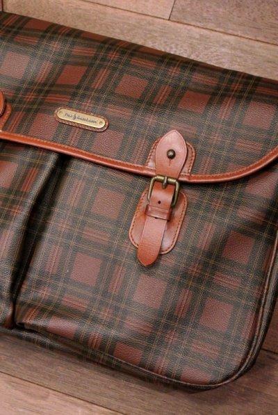 画像2: 【Excellwnt Used】ポロラルフローレン PVC×レザー タータンチェック 大きめのショルダーバッグ