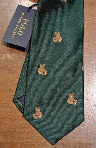 画像1: 【クリックポスト170円も可】ポロラルフローレン テディベアー/クマ刺繍 シルクネクタイ(Green) $125 新品 並行輸入