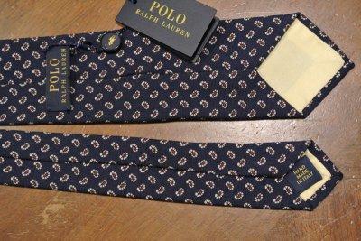 画像3: 【クリックポスト170円も可】ポロラルフローレン エンブレム刺繍 シルクネクタイ(Navy) $125 新品 並行輸入