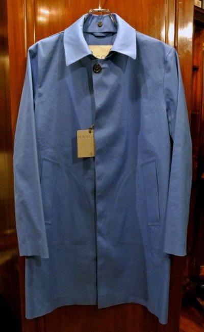 画像1: 【 20%OFF!! 】 HANCOCK (ハンコック) ゴム引き ステンカラーコート(Blue/38) 新品 国内正規品 スコットランド製