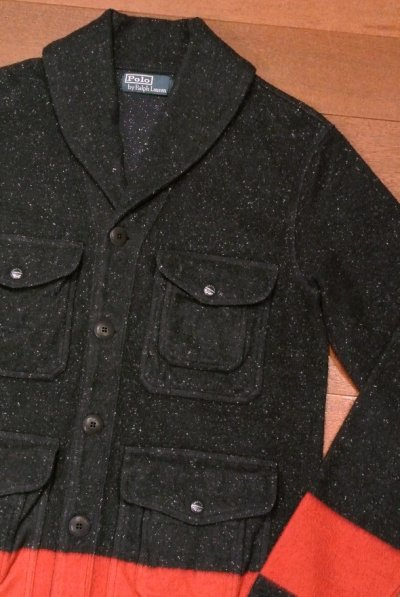 画像1: 未使用品 ポロラルフローレン ショールカラー カットソー ジャケット (BLUE/S) 国内正規品