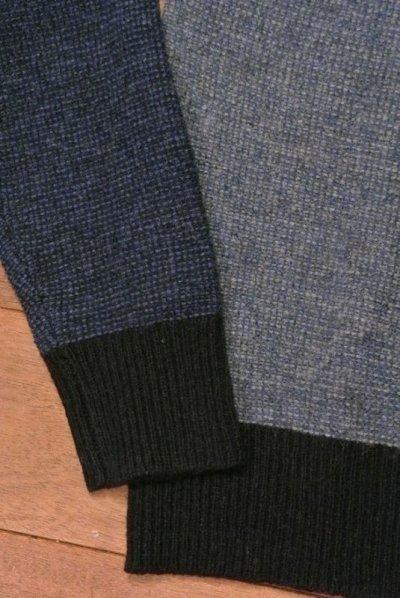 画像3: 【 30%OFF!! 】 J.CREW ジェイクルー ワッフル編み 前V カラーブロック クルーネックセーター (Blue*Navy/S) 新品 並行輸入