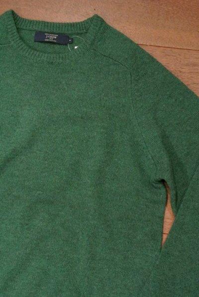 画像1: J.CREW ジェイクルー ラムズウール クルーネックセーター (Green /S) 新品 並行輸入