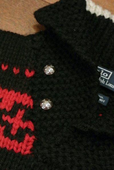 画像3: 【20%OFF!! 】【USED】ポロラルフローレン ネイティブ柄+コンチョボタン ハンドニットセーター (L)