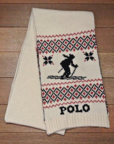 画像1: 【20%OFF!! 】ポロラルフローレン スキーヤー+雪柄   マフラー 新品 並行輸入