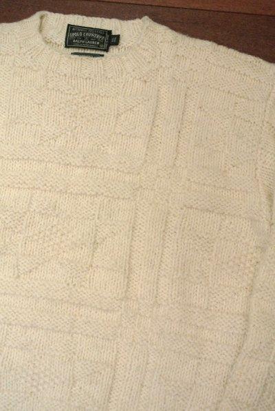 画像1: 【 50%OFF!! 】【Good Used】 POLO COUNTRY ポロカントリー 総編み模様 ハンドニットセーター (M)