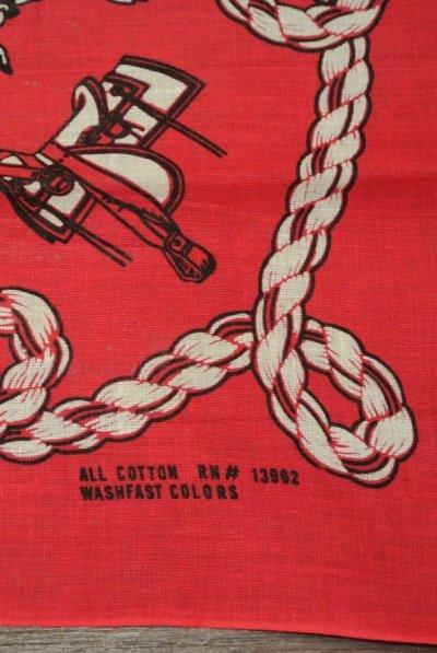 画像2: 【クリックポスト185円も可】 60'sDeadstock デッドストック ロデオ カウボーイハット サドル ロープ柄 大判バンダナ (Red/ 55×55cm)