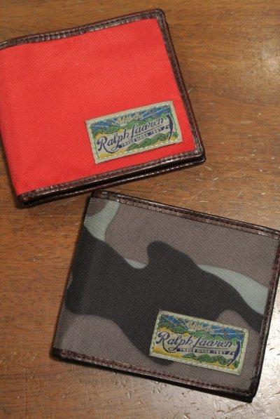 画像1: ポロラルフローレン ナイロン×レザー ウォレット 財布 札入れ 【RED / CAMO】 新品 並行輸入 $98