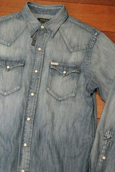 画像1: ポロラルフローレン  ウォッシュド デニムウエスタンシャツ( Blue / S ) 新品 国内正規品