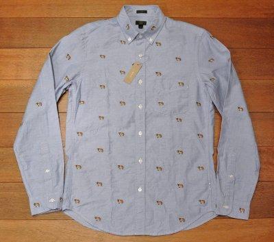 画像2: J.CREW ジェイクルー 犬モノグラム刺繍 オックスフォード B.Dシャツ  ( Blue / SLIMFIT S ) 新品 並行輸入