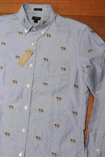 画像1: J.CREW ジェイクルー 犬モノグラム刺繍 オックスフォード B.Dシャツ  ( Blue / SLIMFIT S ) 新品 並行輸入
