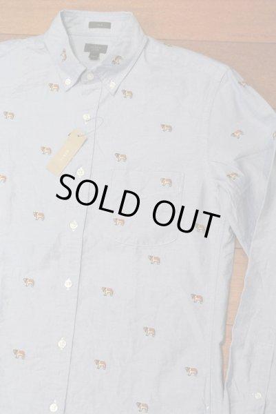 画像1: J.CREW ジェイクルー 犬モノグラム刺繍 オックスフォード B.Dシャツ  ( Blue / SLIMFIT S ) 新品 並行輸入 (1)