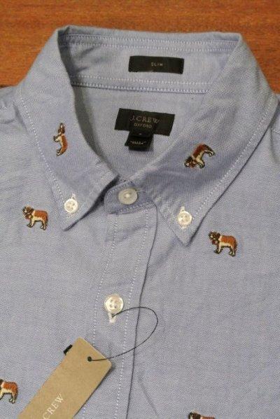 画像3: J.CREW ジェイクルー 犬モノグラム刺繍 オックスフォード B.Dシャツ  ( Blue / SLIMFIT S ) 新品 並行輸入