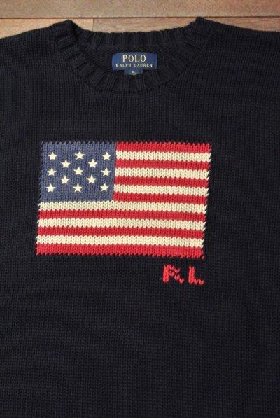 画像1: ポロラルフローレン 星条旗 フラッグ コットンセーター アメリカボーイズサイズ ( Navy/ Boys XL )  新品 並行輸入
