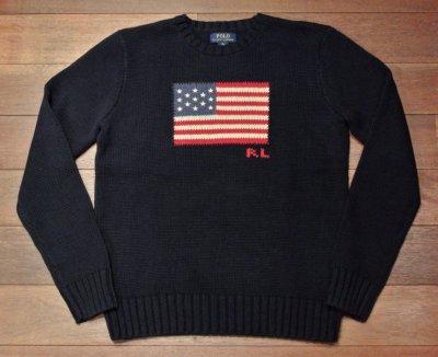 画像3: ポロラルフローレン 星条旗 フラッグ コットンセーター アメリカボーイズサイズ ( Navy/ Boys XL )  新品 並行輸入