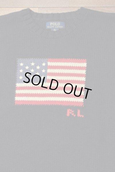 画像1: ポロラルフローレン 星条旗 フラッグ コットンセーター アメリカボーイズサイズ ( Navy/ Boys XL )  新品 並行輸入 (1)