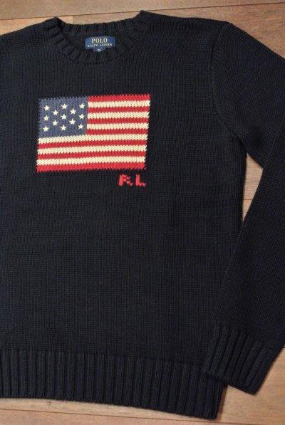 画像2: ポロラルフローレン 星条旗 フラッグ コットンセーター アメリカボーイズサイズ ( Navy/ Boys XL )  新品 並行輸入