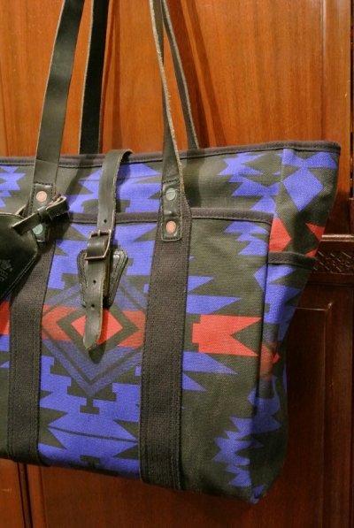 画像1: ポロラルフローレン ネイティブアメリカン柄 キャンバス×レザー トートバッグ 新品  並行輸入
