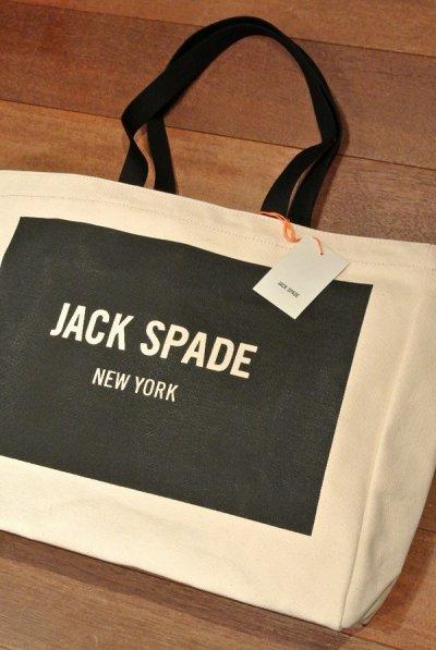 画像1: JACK SPADE (ジャックスペード) LOGO TOTE キャンバストートバッグ ( NATURAL ) $98 新品 並行輸入