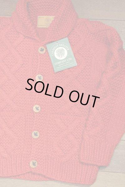 画像1: CanadianSweater カナディアンセーター フロントウッドボタンカーディガン カウチンセーター(Red/38) 新品 (1)