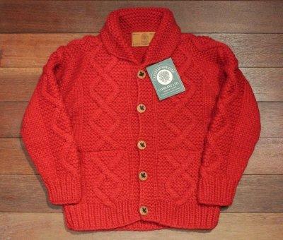 画像2: CanadianSweater カナディアンセーター フロントウッドボタンカーディガン カウチンセーター(Red/38) 新品