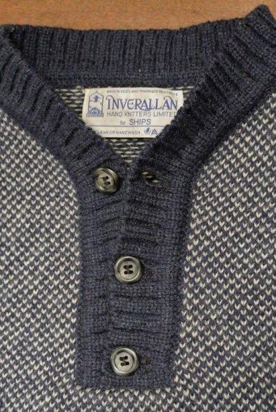 画像3: 【GOOD USED】 INVERALLAN インバーアラン 変形ヘンリーネック P/O セーター (Blue/36)