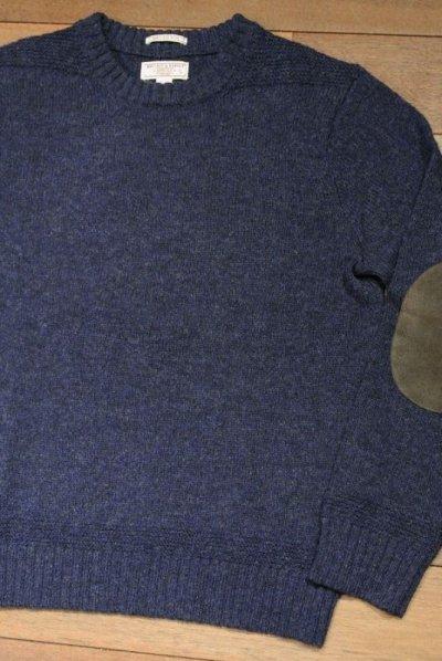 画像1: 【EXCELLENT USED】 Wallace&Barnes シェトランドセーター レザーエルボーパッチ (Blue/S) J.CREW
