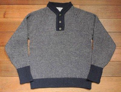 画像2: 【GOOD USED】 INVERALLAN インバーアラン 変形ヘンリーネック P/O セーター (Blue/36)