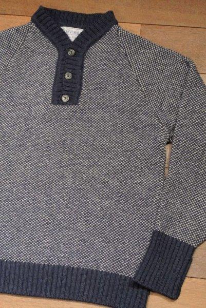 画像1: 【GOOD USED】 INVERALLAN インバーアラン 変形ヘンリーネック P/O セーター (Blue/36)  (1)