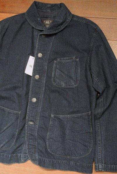 画像2: RRL インディゴ HBT ショールカラー ワークジャケット【L】新品 並行輸入 $490