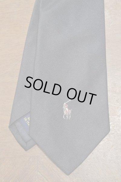 画像1: 【クリックポスト185円も可】ポロラルフローレン ポニー刺繍 シルクネクタイ 無地 (NAVY) イタリア製 新品 並行輸入 (1)
