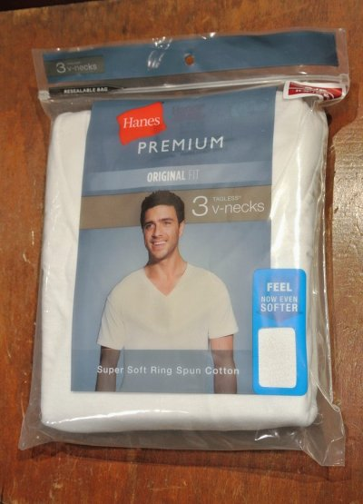 画像1: HANES アメリカ企画 3Pパック Tシャツ Vネック  PREMIUM【White / S】