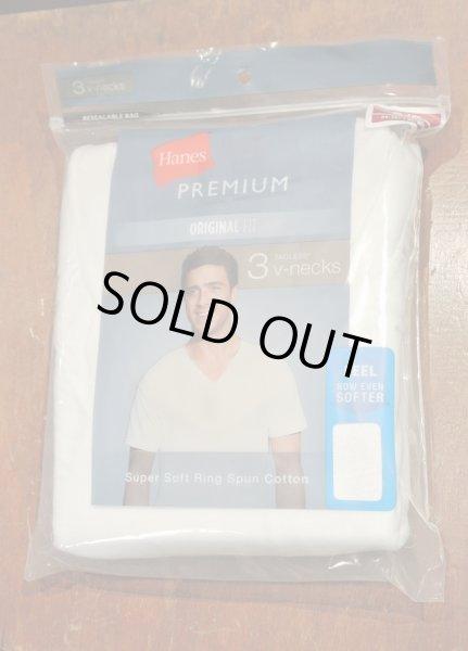 画像1: HANES アメリカ企画 3Pパック Tシャツ Vネック  PREMIUM【White / S】 (1)
